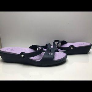 Crocs Size 12 US Women's Blue Purple Slip On Sanda